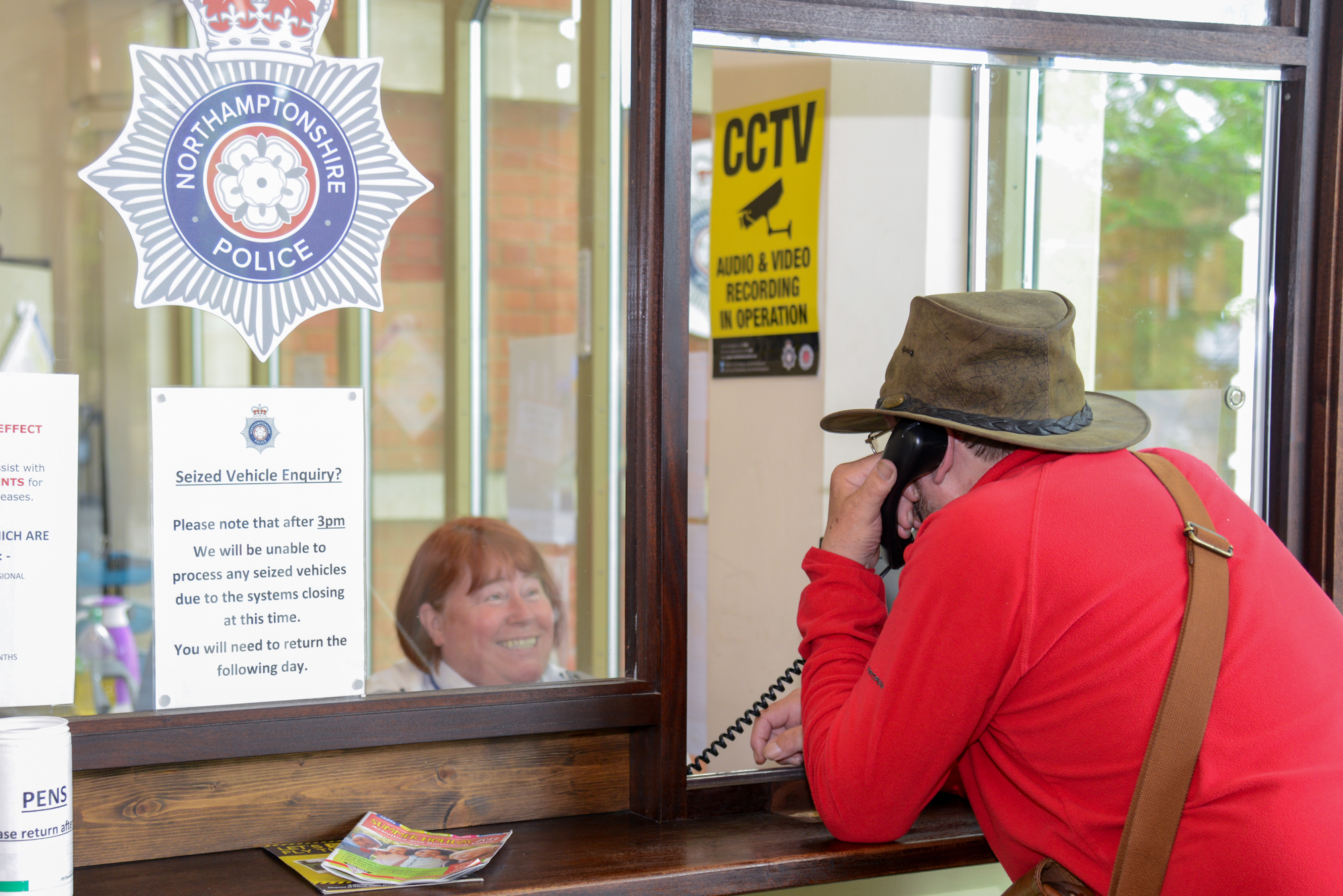 One of the police front counters that are available in the county