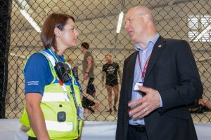 PFCC Stephen Mold in conversation with PCSO Becky Binder-Pollard