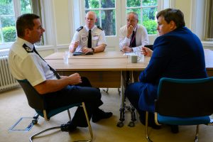 showing the meeting of Kit Malthouse MP, the PFCC, Chief Constable and Assistant Chief Fire Officer