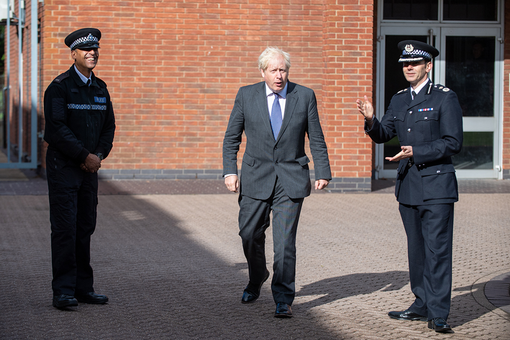 Prime Minister Boris Johns on his visit to Northamptonshire Police Force Headquarters