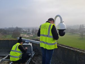 CCTV camera's being installed in Northampton, showing Bedford Road and Radlands Skate Park in the background
