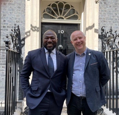 Festus Akinbusoye PCC for Bedfordshire abd Stephen Mold PCC for Northamptonshire pictured wearing suits outside No10 Downing Street